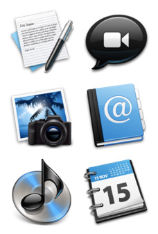 Desktop Icons Set: Black & Blue by