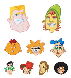 Desktop Icons Set: Male Avatars by