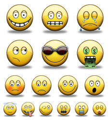 Desktop Icons Set: Shiny Smiley Faces by