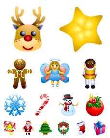 Desktop Icons Set: Christmas Dolls by