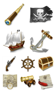 Desktop Icons Set: Pirates by