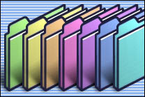 Desktop Icons Set OS 9 Rainbow Folders by Rick Moore