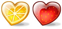 Desktop Icons Set Fruity Hearts by Julia Nikolaeva