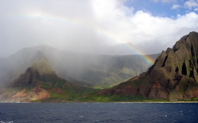 High-resolution desktop wallpaper Na Pali Coast Rainbow by bad03accord