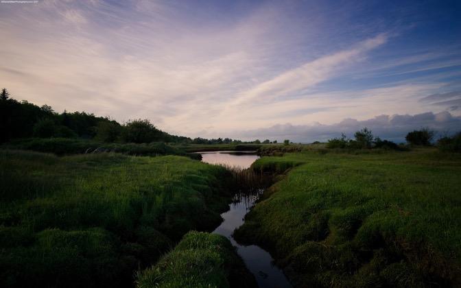 High-resolution desktop wallpaper Marshland Sunset by Steven Miller