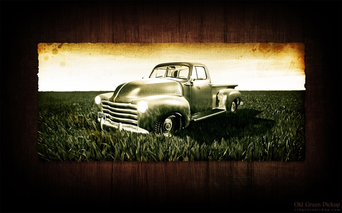 High-resolution desktop wallpaper Old Green Pickup by greenmonster
