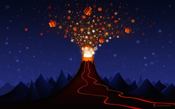 High-resolution desktop wallpaper Christmas Volcano by vladstudio