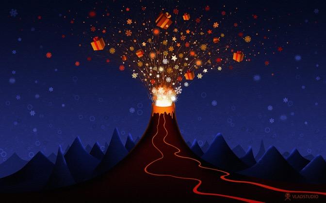 High-resolution desktop wallpaper Christmas Volcano by vladstudio