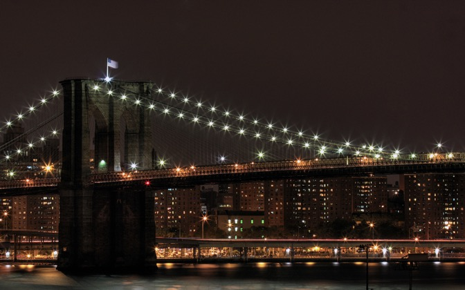 High-resolution desktop wallpaper Brooklyn Bridge at Night by RobNYC