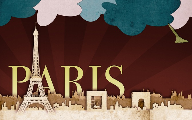 High-resolution desktop wallpaper Paris Scrap Art by Dave Joyce