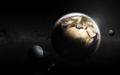 High-resolution desktop wallpaper Earth & Moon by xviews