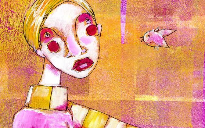 High-resolution desktop wallpaper Scarf Girl and New Friend by Leah Felicity
