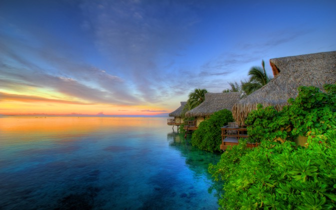 High-resolution desktop wallpaper Sunset over Moorea by BinaryBlogger
