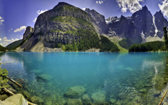 High-resolution desktop wallpaper Moraine Lake Panorama by lucasjungmann