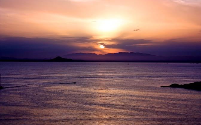 High-resolution desktop wallpaper Sunset on La Manga del Mar Menor by BloWorld
