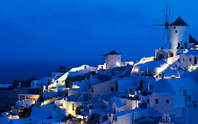 High-resolution desktop wallpaper Oia Windmills by chickenwire
