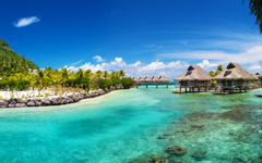 High-resolution desktop wallpaper Hilton Bora Bora by Dan Grady