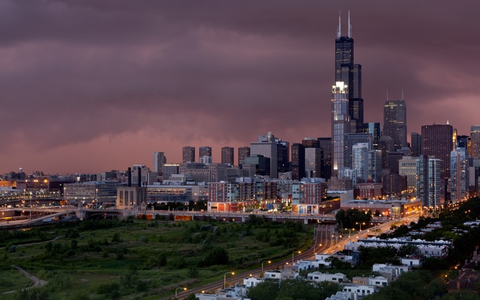 High-resolution desktop wallpaper Sunset and Storm in Chicago by osagher