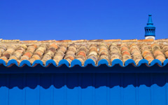 High-resolution desktop wallpaper Tiled Roof on Blue by Paulo Ferreira