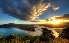 High-resolution desktop wallpaper Sunset in Tairua by Reventox