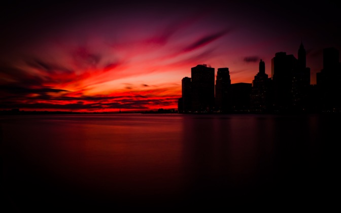 High-resolution desktop wallpaper Manhattan Sunset by mrchenchang