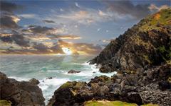 High-resolution desktop wallpaper Rock in the Surf by Robin Kamp