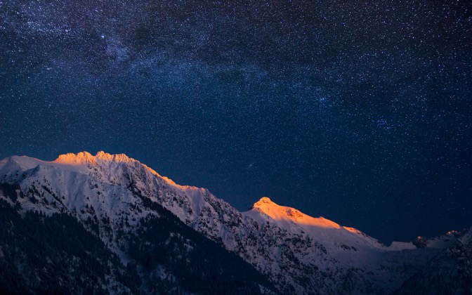 High-resolution desktop wallpaper Glowing Alps under Milky Way by Jonathan Besler