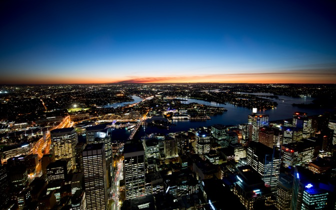 High-resolution desktop wallpaper Fading Night in Sydney by Dominic Kamp