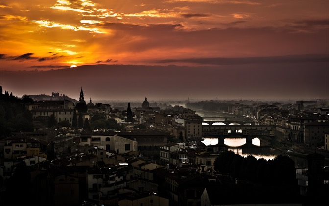 High-resolution desktop wallpaper Florence Sunset by Emmanuel Iarussi