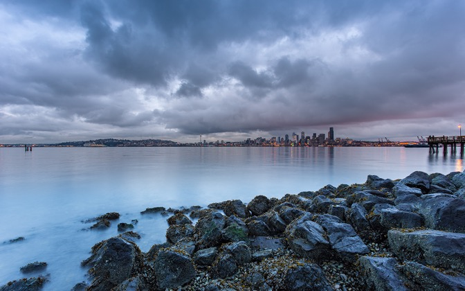 High-resolution desktop wallpaper Christmas Eve in Seattle by Jeffery Hayes