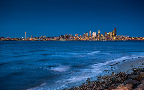 High-resolution desktop wallpaper Seattle From The Beach by Jeffery Hayes