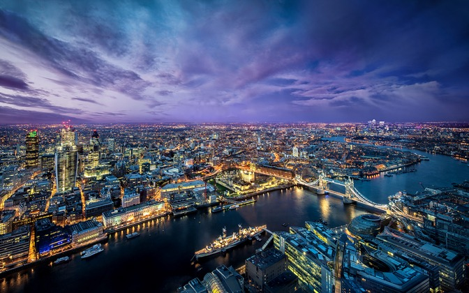 High-resolution desktop wallpaper London from the Shard by Dominic Kamp
