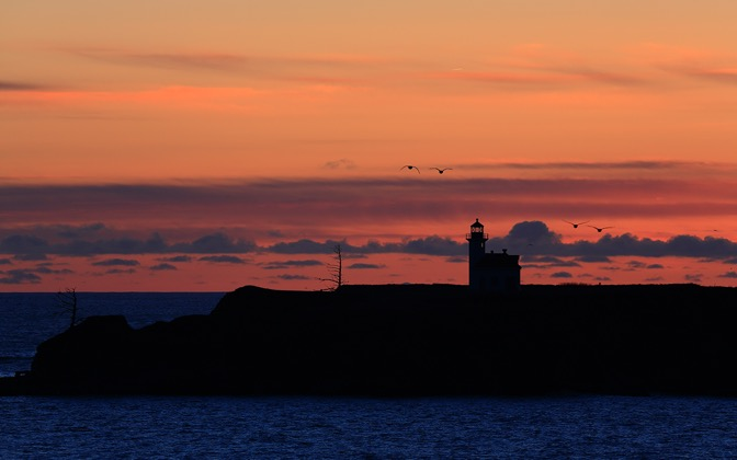 High-resolution desktop wallpaper Arago Lighthouse Sunset II by Robert Bynum
