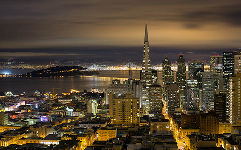 High-resolution desktop wallpaper SF Nighttime Skyline by Jordan M.