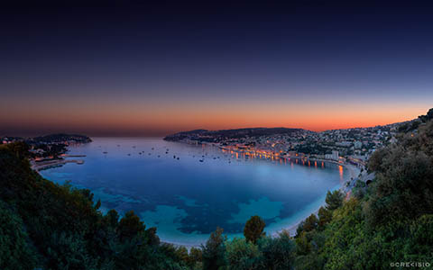 High-resolution desktop wallpaper Villefranche sur Mer Twilight Sunset by Crevisio