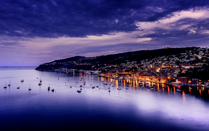 High-resolution desktop wallpaper Purple Sunset Villefranche by David Capellari
