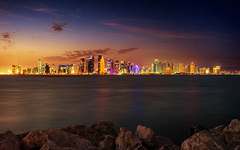 High-resolution desktop wallpaper Doha Skyline by Nicolas Kamp