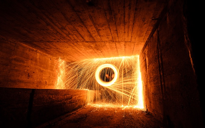 High-resolution desktop wallpaper Steel wool in the tunnel by skopusnik