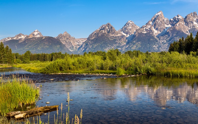 High-resolution desktop wallpaper Stream at The Tetons by Robert Bynum