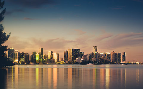 High-resolution desktop wallpaper Miami Skyline Sunset by BarronRothPhotography