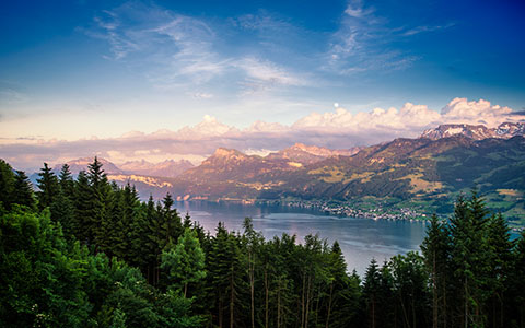 High-resolution desktop wallpaper Dusk at Lake Zurich by Dominic Kamp