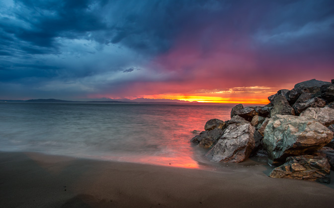 High-resolution desktop wallpaper Alki Beach Sunset by Jeffery Hayes