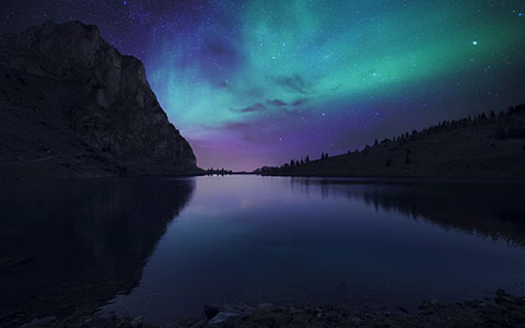 High-resolution desktop wallpaper Nightfall at Lake Aurora by Dominic Kamp