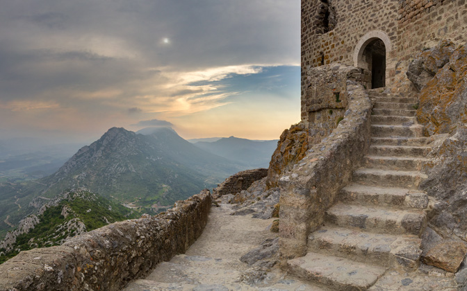 High-resolution desktop wallpaper View from Queribus Castle, France by Sebastophiles