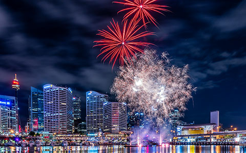 High-resolution desktop wallpaper Fireworks In Darling Harbour by snowlee
