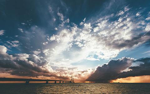 High-resolution desktop wallpaper Sunset at Storebaelt by s1000