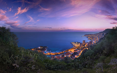 High-resolution desktop wallpaper Monaco Winter Clouds Panorama by Crevisio