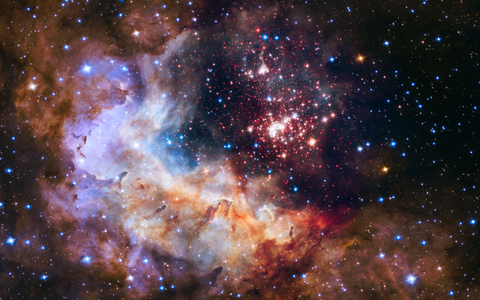 High-resolution desktop wallpaper Celestial Fireworks by NASA, ESA, the Hubble Heritage Team (STScI/AURA), A. Nota (ESA/STScI), and the Westerlund 2 Science Team