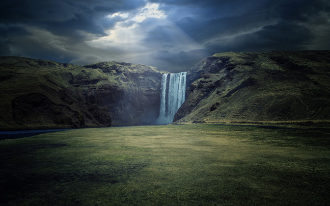 High-resolution desktop wallpaper Skogafoss - Raw Power by Dominic Kamp