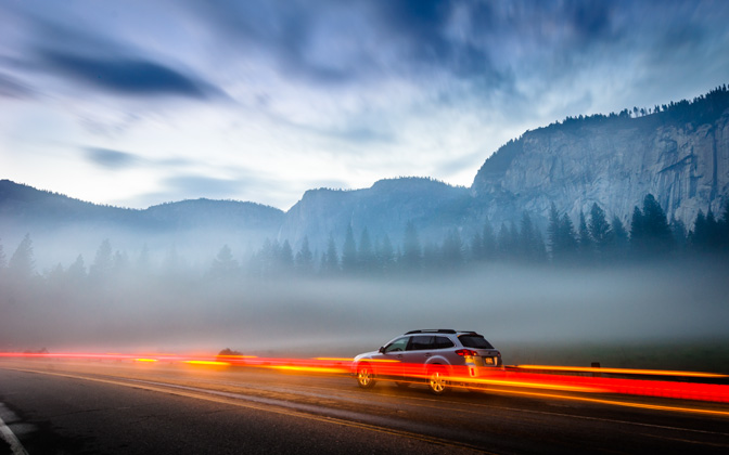 High-resolution desktop wallpaper Fog and Lights in Yosemite Valley by lucasjungmann